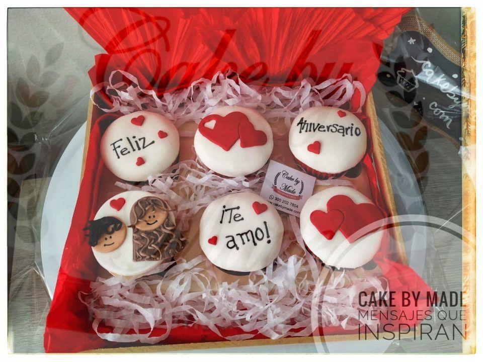 Ancheta regalo Seis cupcakes personalizados en Caja de madera